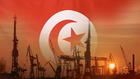 Industrial concept with Tunisia flag at sunset. Silhouette of container harbor stock video