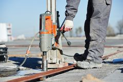 Industrial concrete drilling Royalty Free Stock Photo