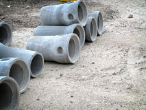 Industrial concrete pipe for building construction Stock Photos
