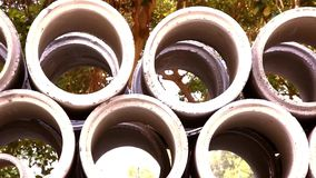 Industrial concrete pipe for building construction stock video footage