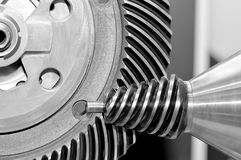 Industrial conical gear and a circular gear, cogwheel Stock Images