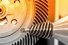 Industrial conical gear and a circular gear, cogwheel Royalty Free Stock Photo