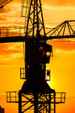 Industrial construction crane silhouette Royalty Free Stock Photography