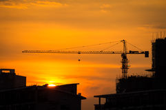 Industrial construction cranes and building Royalty Free Stock Photos