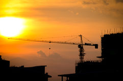 Industrial construction cranes and building Stock Image