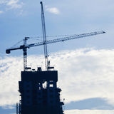 Industrial construction cranes and building Stock Photos