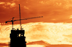 Industrial construction cranes and building Stock Images