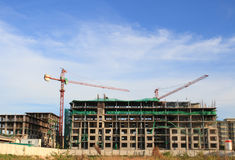 Industrial construction cranes building Royalty Free Stock Image