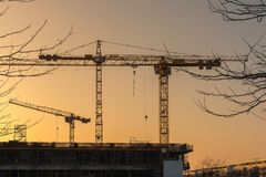 Industrial construction cranes and building silhouettes. Before sunset in construction site Royalty Free Stock Photo
