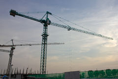 Industrial construction cranes and building Royalty Free Stock Photo