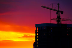 Industrial construction cranes and building Stock Photography