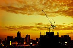 Industrial construction cranes and city Stock Photo