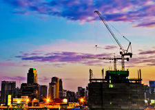 Industrial construction cranes and city Stock Image