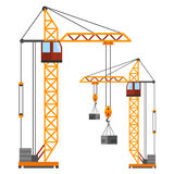 Industrial construction cranes flat style vector Royalty Free Stock Image