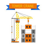 Industrial construction cranes flat style vector silhouettes Stock Photos