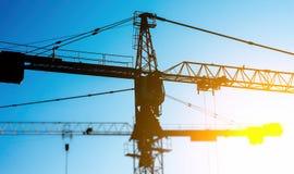 Industrial construction cranes. Royalty Free Stock Photos