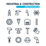 Industrial and construction line icons set on Stock Images