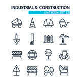 Industrial and construction lined icons set Stock Photo