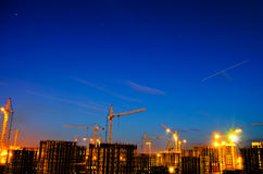 Industrial construction night city. Industrial construction night view city Stock Image