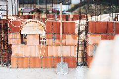 Industrial construction site with brick details and wire rod. bricklayering details Stock Image