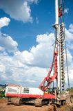 Industrial construction site with drilling rig making holes Royalty Free Stock Photos