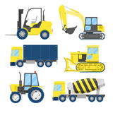 Industrial Construction Transportation with Truck and Tractor Stock Images