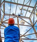 Industrial construction worker frames stock image