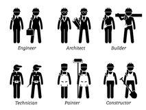 Industrial and Constructions Jobs, Works, and Occupations for Women. Royalty Free Stock Images