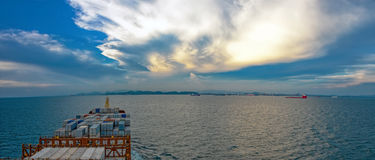 Industrial container ship enters the Laem Chabang bay Stock Photography