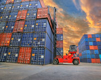 Industrial Container yard with forklift working Royalty Free Stock Photos