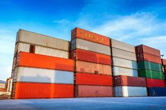 Industrial containers box for logistic import export business royalty free stock photography