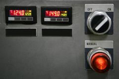 Industrial control panel installation button Royalty Free Stock Photography