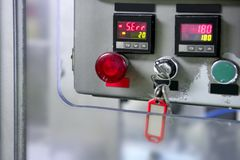 Industrial control panel installation button Stock Photos