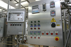 Industrial control system in modern dairy factory Royalty Free Stock Photo