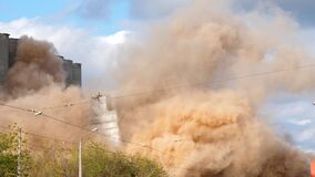 Industrial controlled explosion abandoned building