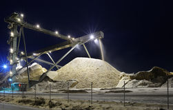 Industrial conveyor. At night with lights Royalty Free Stock Photo