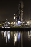 Industrial crane. In a port with nocturnal reflections Royalty Free Stock Photography