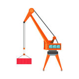 Industrial Crane Loading Container. Cargo crane icon. Container terminal element. Large industrial crane for cargo container. Logistics and transportation of Royalty Free Stock Image