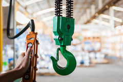 Industrial crane with valve warehouse Stock Image