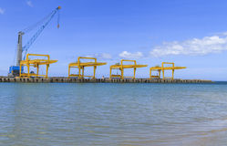 Industrial cranes and cargo Stock Photo