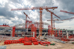 Industrial Cranes on Construction of Expressway Site in Asia Royalty Free Stock Images