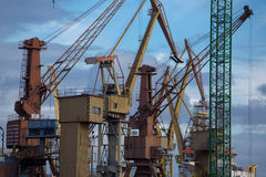 Industrial cranes in Gdansk shipyard Stock Photos