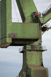 Industrial cranes in Gdansk shipyards Stock Photos