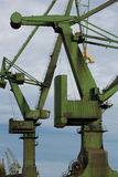 Industrial cranes in Gdansk shipyards Royalty Free Stock Images