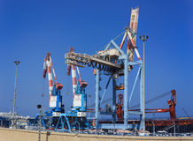 Industrial cranes in Haifa port Stock Images
