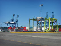Industrial cranes in port Stock Photo