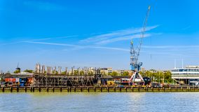 Industrial cranes on the quays in Rotterdam, Holland stock photo