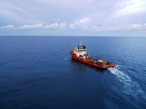 Industrial Crew and Supply Boat for Oil and Gas Of. A supply and crew transfer boat at offshore used by the oil and gas operators to transport supplies and royalty free stock photography