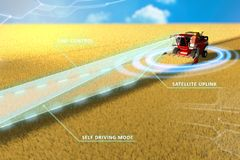Self driving, unmanned, autonomous grain combine harvester working in field - farming equipment future concept - industrial 3D. Industrial 3D illustration of vector illustration