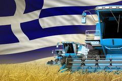 Industrial 3D illustration of three blue modern combine harvesters with Greece flag on farm field - close view, farming concept